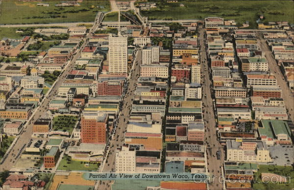Partial Air View of Downtown Waco Texas