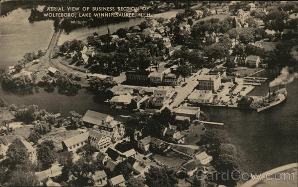 Aerial View of Business Section of Wolfeboro Lake Winnipesaukee New Hampshire