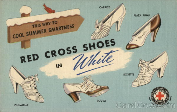 Red Cross Shoes in White, Parisian Shoe Store Clinton Massachusetts