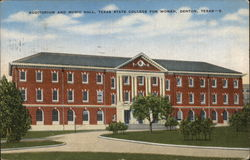 Auditorium and Music Hall, Texas State College for Women Postcard
