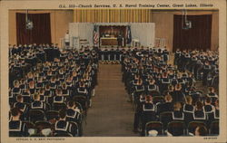 Church Services, US Naval Training Center Postcard