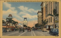 Wilshire Boulevard, Showing Beverly Wilshire Hotel and the Brown Derby