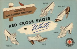 Red Cross Shoes in White, Parisian Shoe Store Clinton, MA Postcard