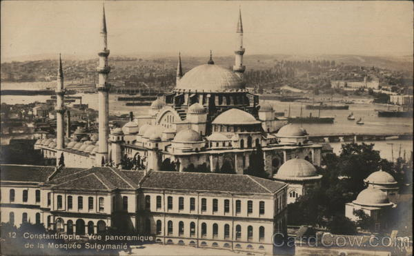 Panoramic view of Suleiman's Mosque Constantinople (Istanbul) Turkey