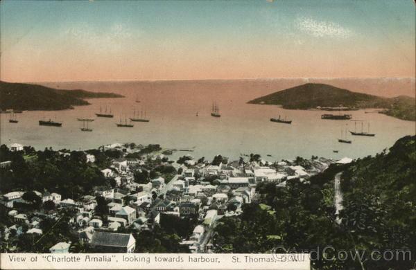 "View of ""Charlotte Amalia"", looking towards harbor, St. Thomas"