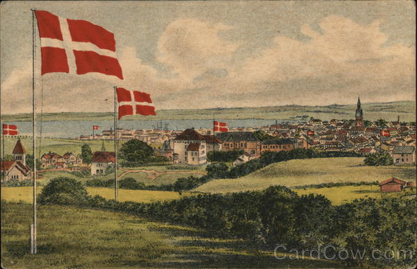 A Danish town with flags Denmark