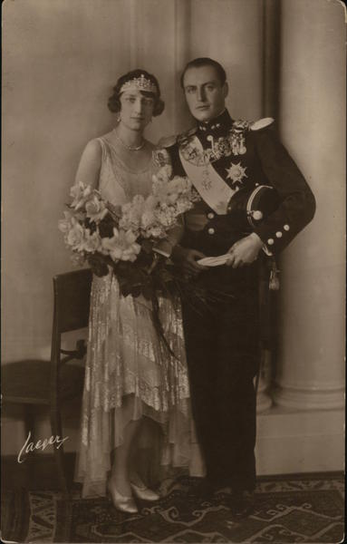 Princess Märtha of Sweden was Crown Princess of Norway and future King Olav V from at their wedding 1929