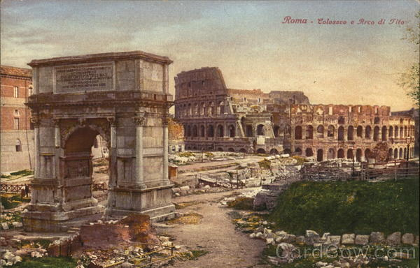 Colosseum and Arch of Tito Rome Italy