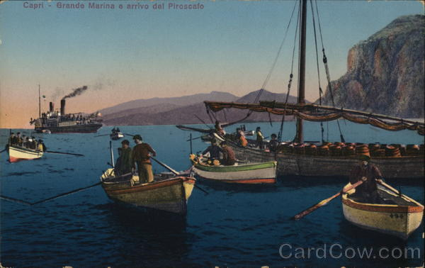 Grand Marina and the arrival of a steamer Capri Italy