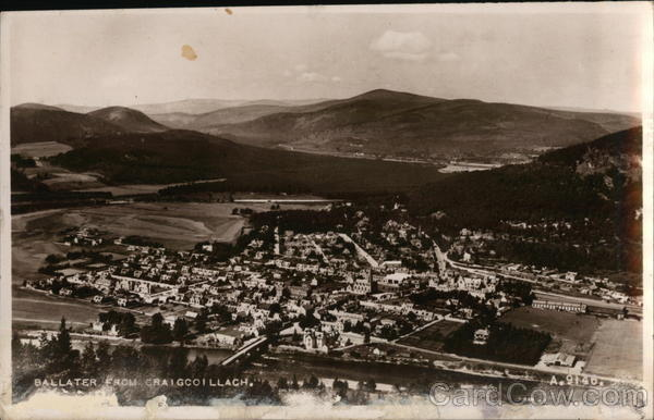 View of Town from Craigcoillach Ballater Scotland