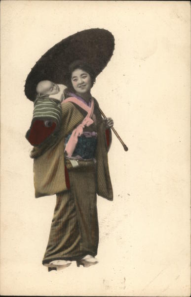 Japanese woman with parasol and baby
