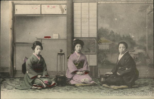 Japanese women sitting on floor
