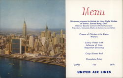 United Air Lines Menu United Nations, Empire State and Chrysler Buildings