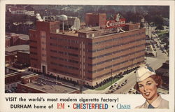 Visit the World's Most Modern Cigarette Factory Postcard