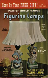 Figurine Lamps Postcard