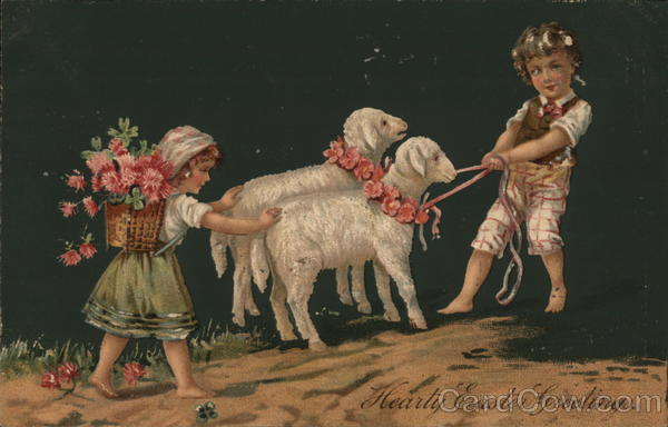 A Young Boy and Young Girl with Two Lambs