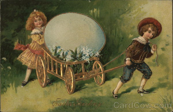 Boy and Girl With Golden Carriage Eggs