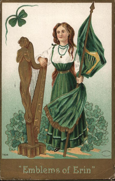 Emblems of Erin - Woman in Green holding a flag and leaning on Harp