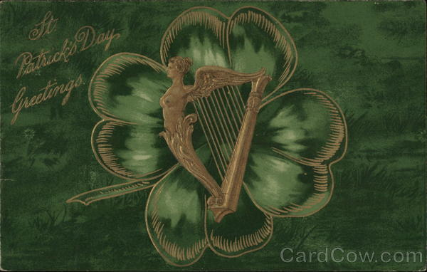 A Harp Surrounded by a Shamrock Leaf