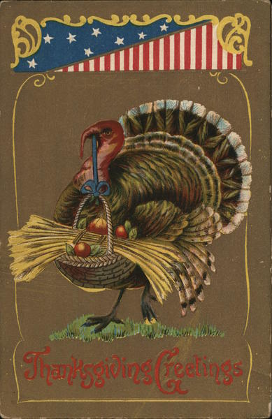 Thanksgiving Greetings - Turkey holding a basket of food