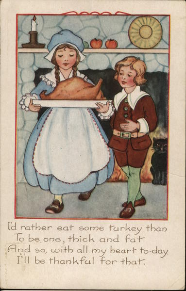 Boy and Girl Holding Platter with Cooked Turkey Children