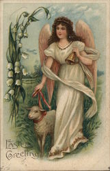 Easter Greeting - Angel holding a bell, walking a lamb