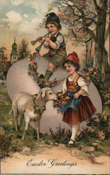 Easter Greetings, children with lamb and giant egg