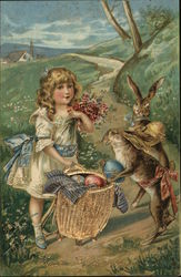 Child and Rabbits Gather Eggs