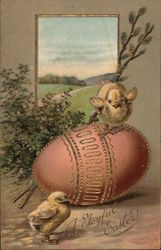 A Joyful Easter - Two Chicks and a Decorated Easter Egg