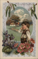 A Joyful Easter-Little boy with farmhouse and flowers
