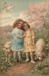 A Joyous Easter - Two Girls with Lambs