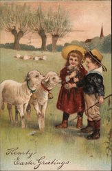 Hearty Easter Greetings - Two children with two lambs