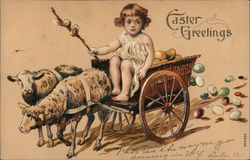 Wagon of Easter Eggs Pulled by Sheep