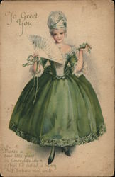 To Greet You - Woman in Fancy Green Dress Holding a White Fan
