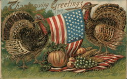 Turkeys Holding an American Flag