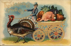 Turkey Pulling Cart With Uncle Sam Delivering Dinner