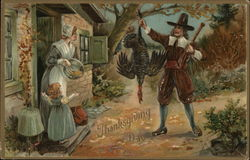 Pilgrim Brings Home the Thanksgiving Day Turkey