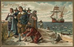 Thanksgiving Day - Pilgrims coming ashore