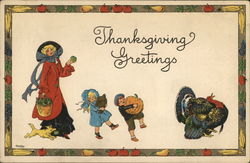 Thanksgiving Greetings-A woman, two children and a turkey