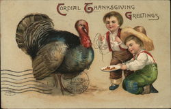 Cordial Thanksgiving Greetings - Two Boys with a Turkey