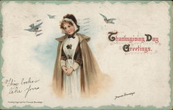 Pilgrim Girl and Bluebirds Postcard