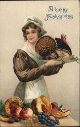 A Happy Thanksgiving - Pilgrim Carrying Turkey