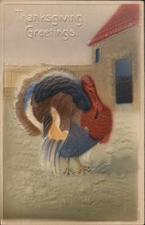Airbrushed, Embossed Turkey - Thanksgiving Greetings