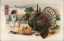 Hearty Thanksgiving Greetings-Girl with a turkey holding a wshbone.