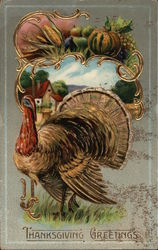 Thanksgiving Greetings-Turekey with fall background