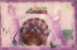 Couple Holding Thanksgiving Bounty on Platter Above Turkey Postcard