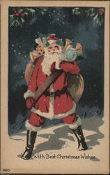 With Best Christmas Wishes - Santa in the Snow with his sack