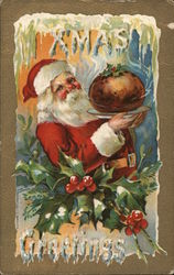 XMas Greetings - Santa Holding a Chestnut