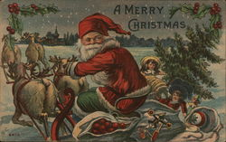 A Merry Christmas - Santa with Reindeer pulling a cart full of toys