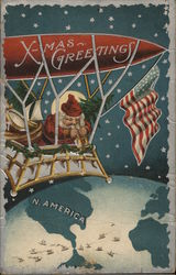 X-mas Greetings Santa in Airship